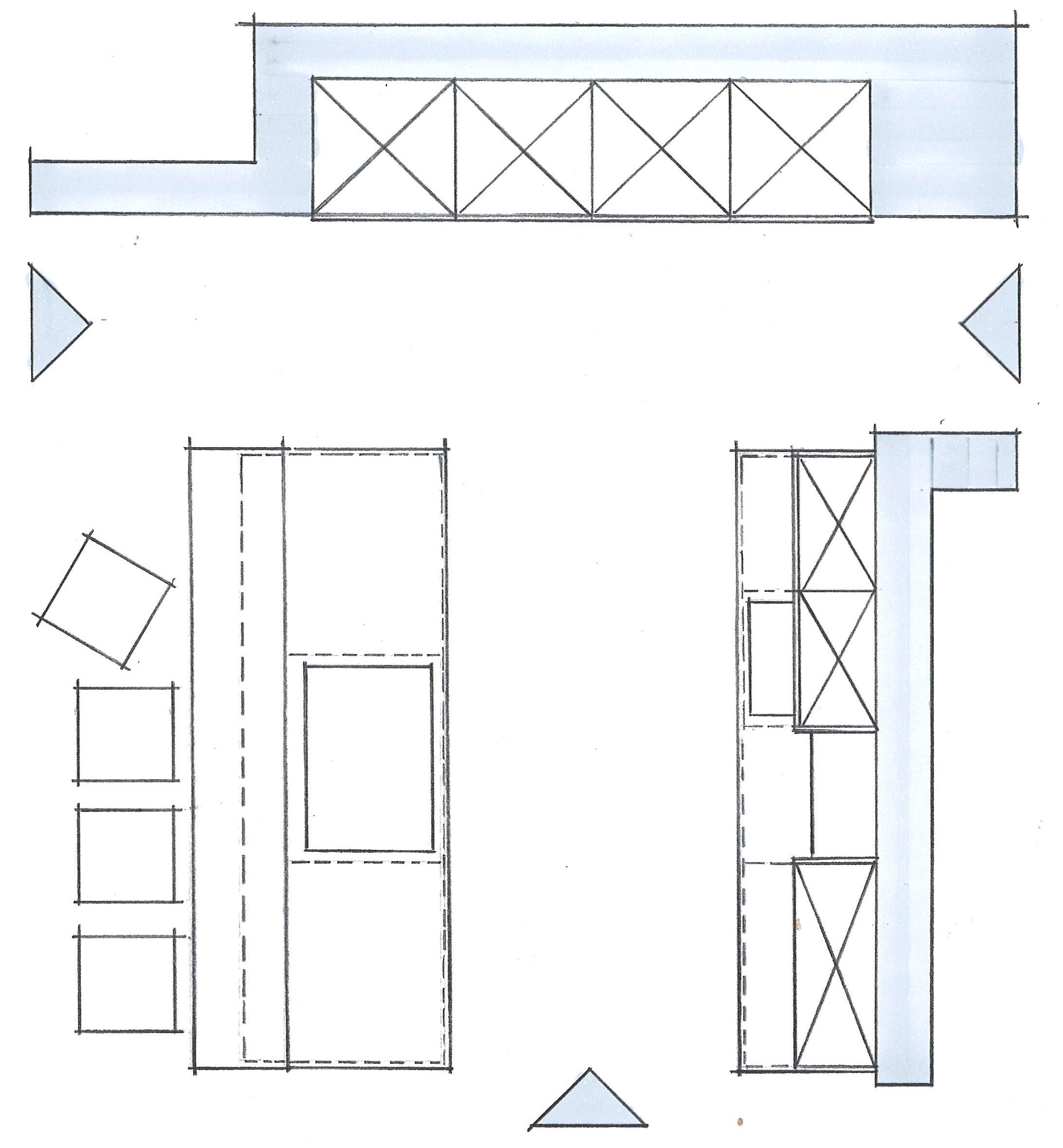 zweizeilige offene Küche mit Koch- und Sitztheke Grundriss Skizze